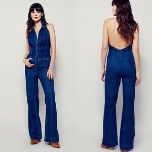 Free People Neko Flared One Piece Denim Jumpsuit 4